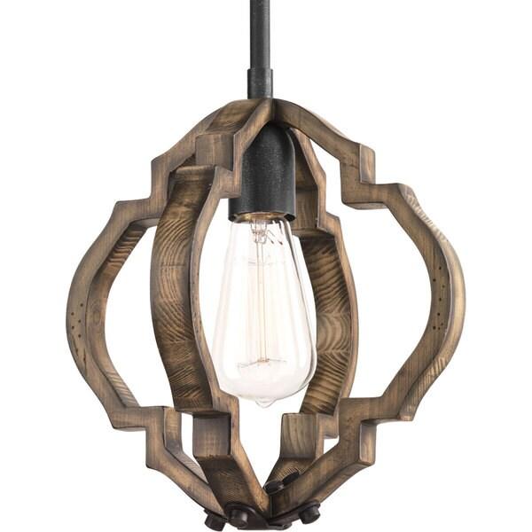 Progress Lighting Spicewood Brown Metal, Steel One-light Mini Pendant Fixture