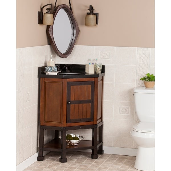 Shop harper blvd edgerton granite top corner bath vanity - Corner bathroom vanities for sale ...