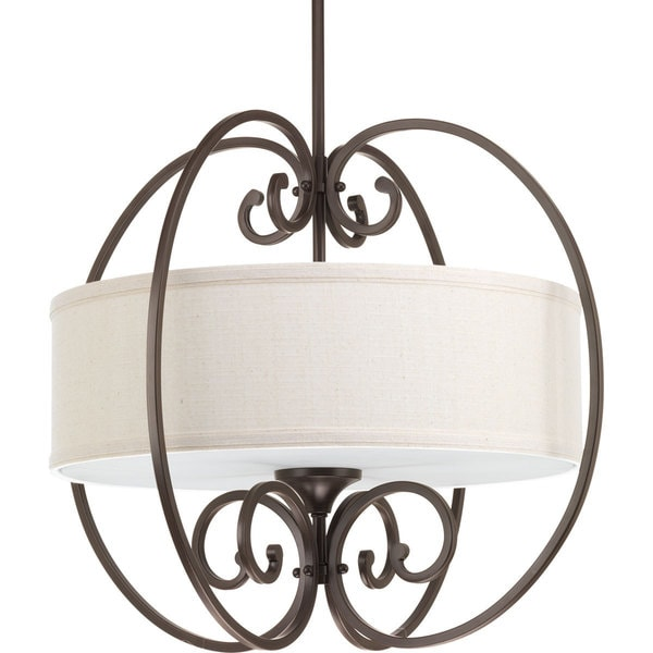 Progress Lighting Overbrook Bronze Metal, Steel Three-light Small Pendant Fixture