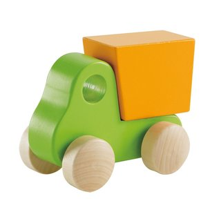 Hape Green/Orange Wood Little Dump Truck