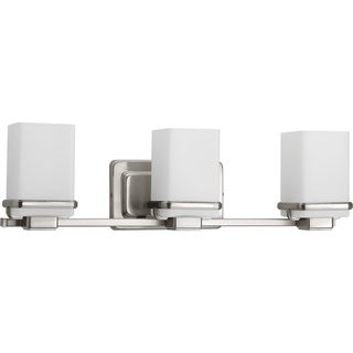 Progress Lighting Metric Silver Steel Three-light Vanity Bathroom Fixture