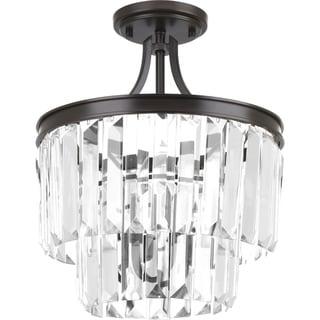 Progress Lighting P2325-20 Glimmer Bronze-finish Steel 3-light Converetible Semi-flush/Chandelier