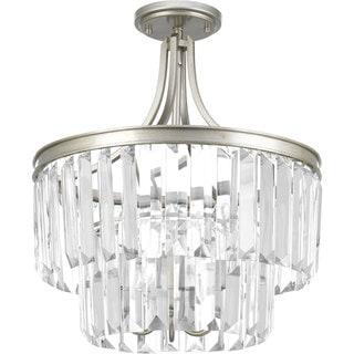 Progress Lighting Glimmer Grey Metal, Steel, Glass 3-light Semi-flush Convertible Fixture