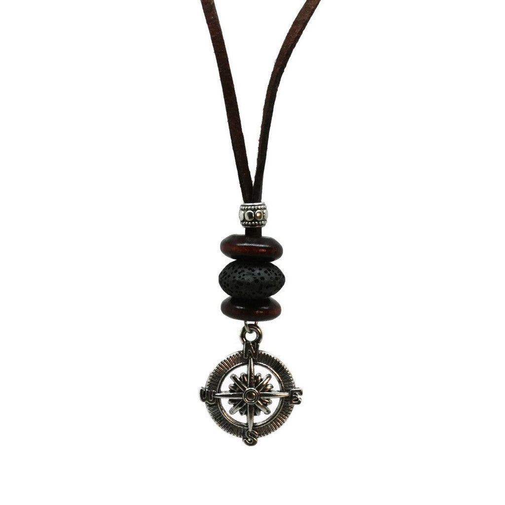 Compass Mens Leather Cord Essential Oil Diffuser Necklace...