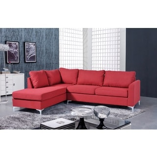 Landon Reversible Linen Sectional Red Color by Nathaniel Home