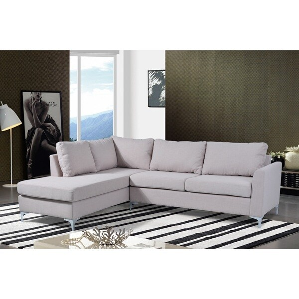 Landon Reversible Linen Sectional Beige Color by Nathaniel Home