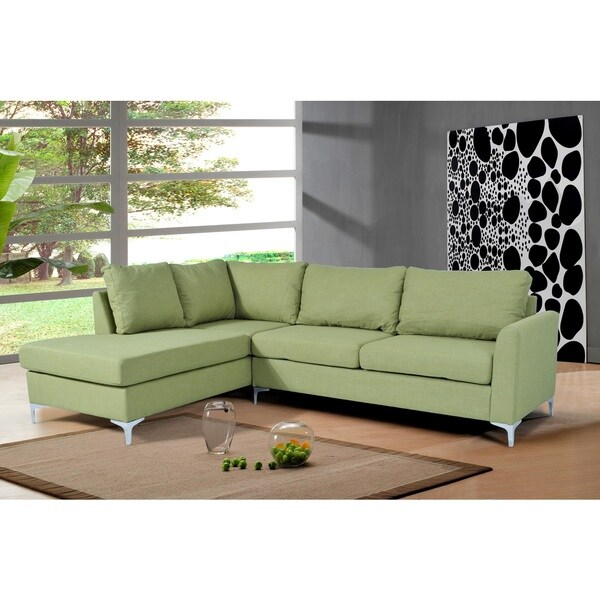 Landon Reversible Linen Sectional Green Color By Nathaniel