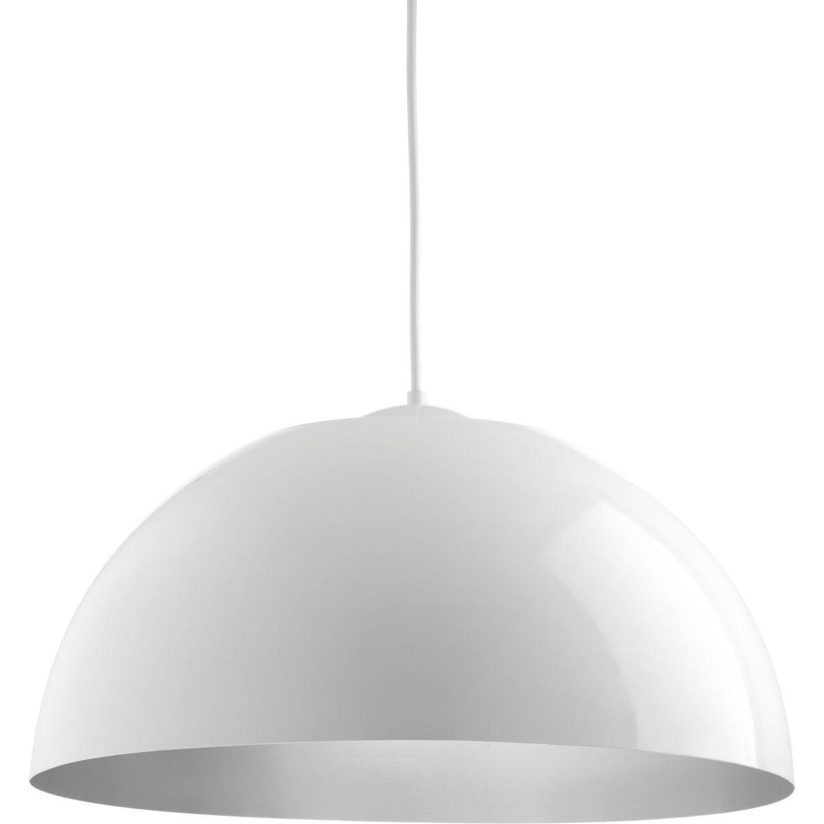 Progress Lighting P5342 3030k9 Dome White Steel Metal 1 Light Pendant N A