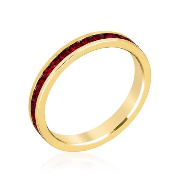 Kate Bissett Stylish Stackables 18k Gold Garnet Crystal Ring