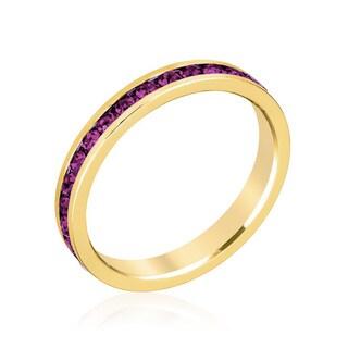 Kate Bissett Stylish Stackables 18k Gold Purple Crystal Ring