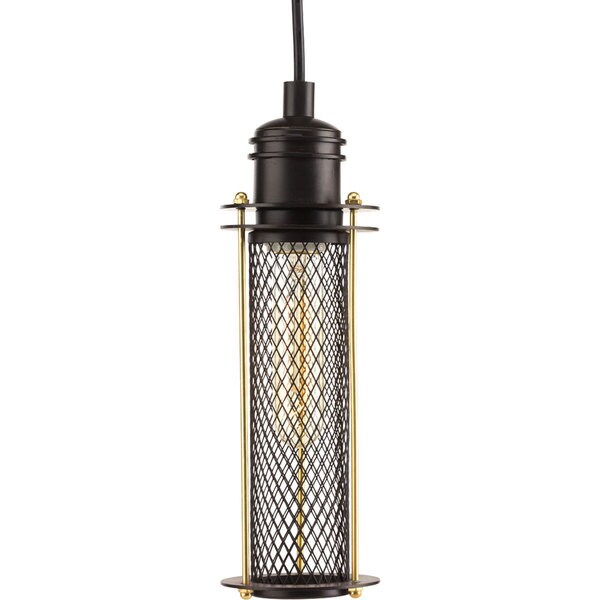 Progress Lighting Bronze Metal, Steel Industrial One-light Mini Pendant Fixture