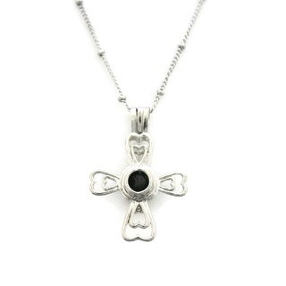 Divine Cross Essential Oil Diffuser Lava Stone 18-inch Necklace