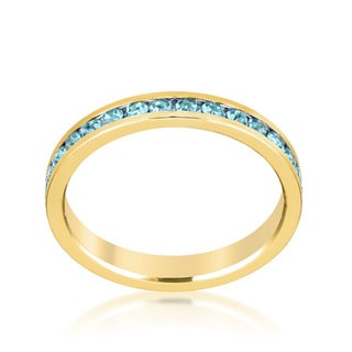 Kate Bissett Stylish Stackables 18k Gold Brass Aqua Crystal Ring