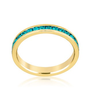 Kate Bissett Stylish Stackables Gold Turquoise Crystal Ring