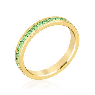 Kate Bissett Yellow Gold Brass Peridot Crystal Stylish Stackables Ring