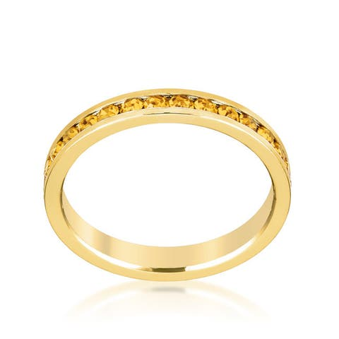 Kate Bissett Stylish Stackables 18k Yellow Gold Plated Brass Crystal Ring