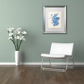 Michael Tompsett 'Scotland Text Map Blue' Matted Framed Art