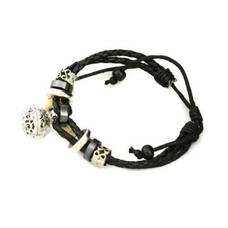 """Unite"" Black Leather Essential Oil Diffuser Bracelet"