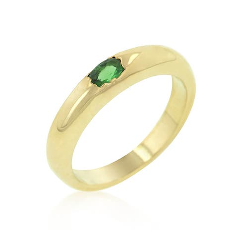 Kate Bissett 18k Gold Brass Green Oval Cubic Zirconia Simple Ring