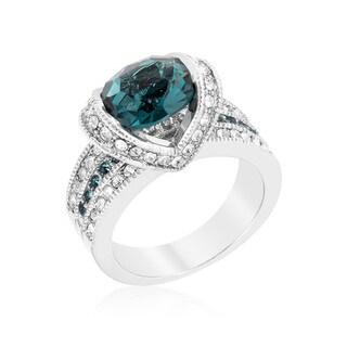 Kate Bissett Ovaline White Brass Blue Cubic Zirconia Ring