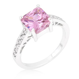 Kate Bissett Princess White Brass Pink Cubic Zirconia Ring