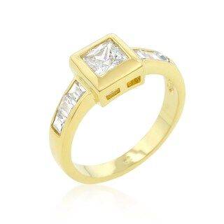Kate Bissett Golden Brass Cubic Zirconia Simple Square Bezel Ring