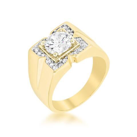 Kate Bissett Regal Golden Brass Cubic Zirconia Men's Ring
