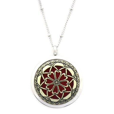 Unique Two-tone Gold and Silver Stainless Steel Essential Oil Diffuser Necklace
