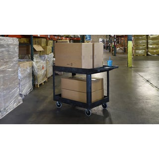 Luxor XLC11-B Black Polyethylene 2-shelf Heavy-duty Utility Cart