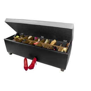 The Sole Secret Retro Black Vinyl Shoe Storage Bench