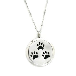 Paw-some Paw Prints Essential Oil Diffuser 18-inch Necklace Black Leather