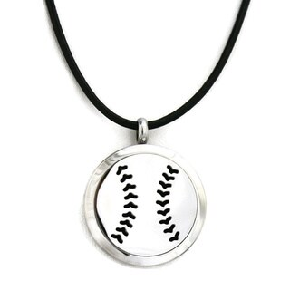 Boys Baseball Essential Oil Diffuser Stainless Steel Necklace