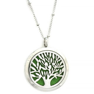Bloom Family Tree of Life Essential Oil Diffuser Stainless Steel 30-inch Necklace