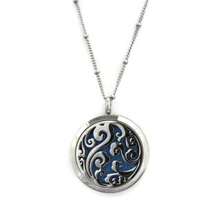 Swirl' Filigree Stainless Steel Aromatherapy Diffuser 20-inch Necklace