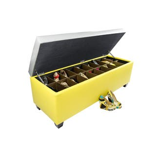 The Sole Secret Retro Yellow Vinyl Shoe Storage Bench