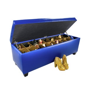 The Sole Secret Blue Vinyl Retro Shoe Storage Bench/Ottoman