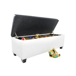 The Sole Secret Retro White Vinyl Shoe Storage Bench