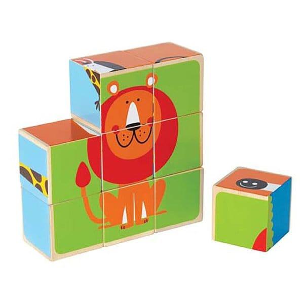 Hape Happy Puzzle Zoo Animals Block Puzzle Toy