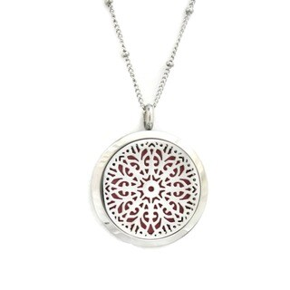 Burst' Filigree Stainless Steel Essential Oil Diffuser 20-inch Necklace