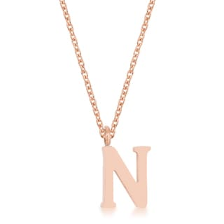 Kate Bissett Elaina Rose Gold Stainless Steel N Initial Necklace