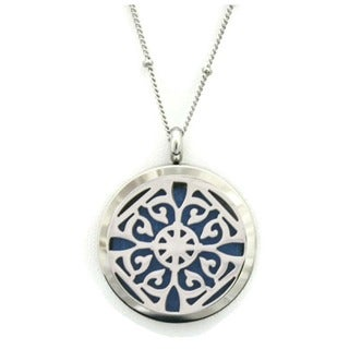 Classic Filigree 30-inch Silver Essential Oil Diffuser 316L Stainless Steel Necklace