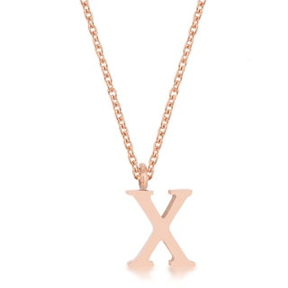 Kate Bissett Elaina Rose Gold Stainless Steel 'X' Initial Necklace