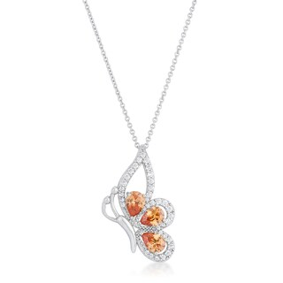 Kate Bissett Karen Rhodium-finished 2.8-carat Champagne Cubic Zirconia Butterfly Drop Necklace