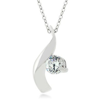 Kate Bissett White Brass Cubic Zirconia Twist Pendant