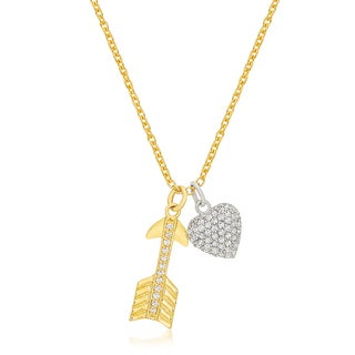 Kate Bissett Pave Heart and Arrow Pendant