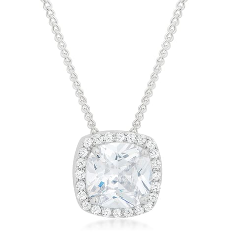 Kate Bissett White Brass Cubic Zirconia Pave Halo Pendant