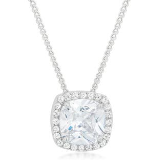 Kate Bissett White Brass Cubic Zirconia Pave Halo Pendant|https://ak1.ostkcdn.com/images/products/12053243/P18922638.jpg?impolicy=medium