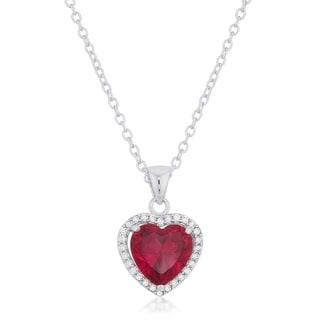 Kate Bissett Garnet Brass Cubic Zirconia Red Heart Pendant Necklace