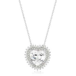 Kate Bissett White Brass Cubic Zirconia Halo Heart Pendant with 16-inch Chain