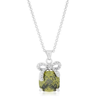 Kate Bissett Olivine Bow Pendant Necklace